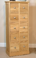Mobel oak cd multi storage chest of drawers