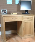 Single pedestal oak computer desk