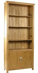 Essentials oak large cupboard bookcase
