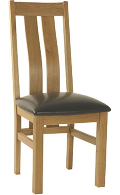 2 x Oak Twin Slat Dining Chairs with Brown Seat