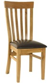 2 x Oak Slatback Dining Chairs with Brown Seat
