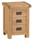 Stockton Oak 3 Drawer Small Bedside Table