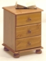 Richmond Pine 3 drawer bedside chest