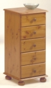 Richmond Pine 5 drawer narrow chest