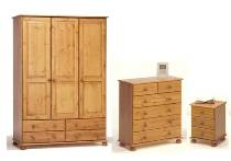 Richmond Pine triple robe, 4+2 chest, 3 drw bedside package offer.
