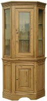 Loire Oak Glazed Corner Display Cabinet
