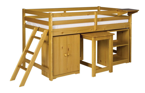 Cabin Bed With Cupboard Bookcase Desk Shelf Beds