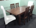 Kilkenny 5ft Butterfly Extending Dining Set. 4 Slat chairs, 2 Parsons Chairs