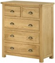 Portland Oak 3+2 Drawer Chest