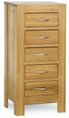 Milano Oak 5 Drawer Narrow Chest